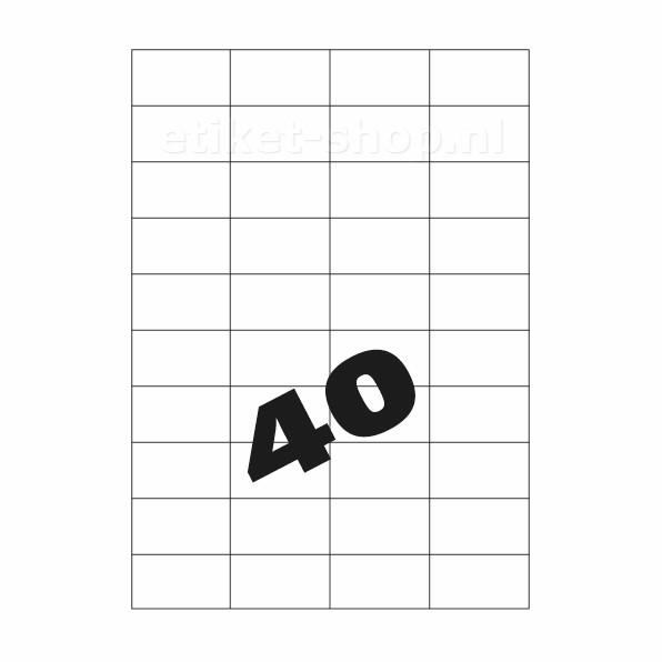 A4 etiketten 40vel, 52,5x29,7mm